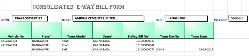 consolidated e way bill excel format pic