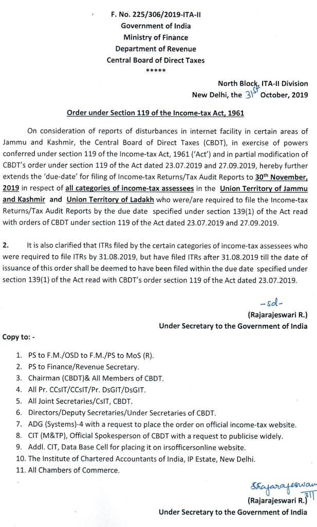 Extension Of Tax Audit Report Due Date For Ay 2018 19