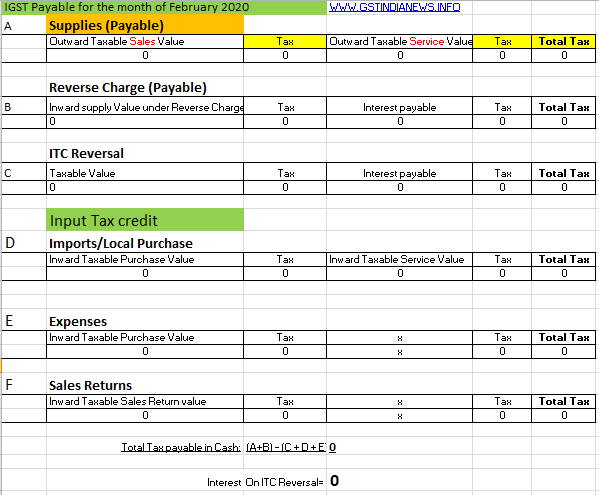 image for gst calculator in excel format