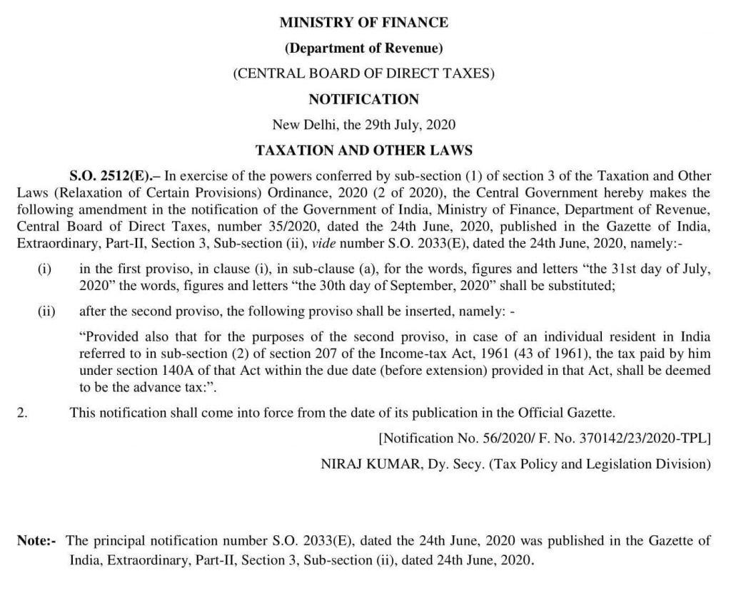 income tax return 2018-19 extension notification