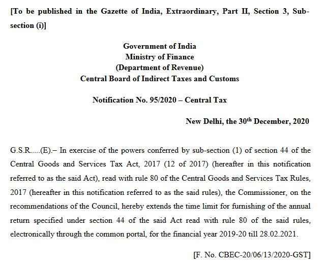 image for gstr 9 due date extended notification